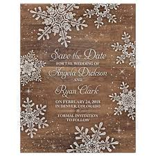 Save The Date For Wedding Rustic Snowflake Wood Winter Wedding Save The Date