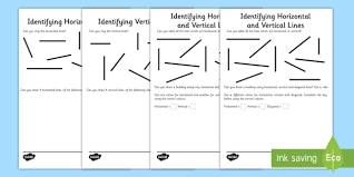 horiztal identifying horizontal and vertical lines worksheet activity sheet