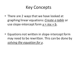 key concepts there are 2 ways that we have looked at graphing linear equations create