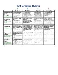 Grade 7 12 Middle High School Art Grading Rubric Chart Tpt
