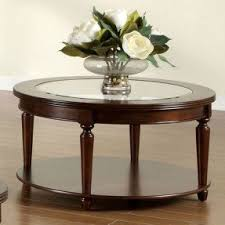 Round Wood Coffee Table With Glass Top Foter