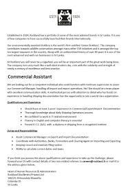 Commercial Assistant Job Vacancy In Sri Lanka