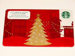 Gift Cards For Christmas Starbucks Gift Card Red W Gold Christmas Tree Zero Balance