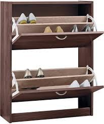 Slim Shoe Cabinet Benito Slim Stackable 2 Tilt Drawer Shoe Cabinet Hallway Unit Dark