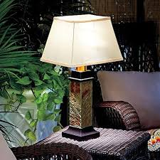 dermapad gray brown faux slate battery operated outdoor table lamp