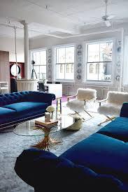 living room fuzzy chairs blue velvet sofas windows