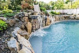 rock pool slides for inground pools swimming pool rock slide waterfall