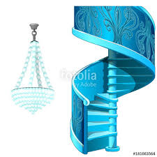 classic ice spiral staircase and crystal chandelier decorative frozen interior elements vector ilration in