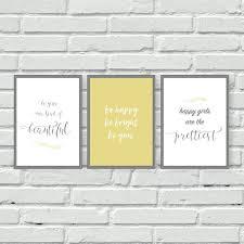 yellow and grey wall prints set of