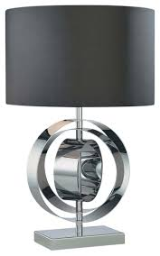 floating square table lamp in black and brushed steel tall