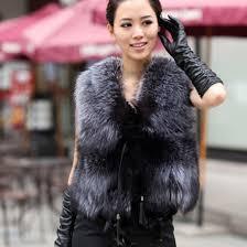 jacket fur vest vest black faux fox faux fur jacket women coat overcoat grey fur vest