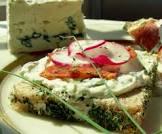blue cheese  salami and radish sandwiches