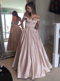 ball gown off the shoulder satin with beading floor length prom dress