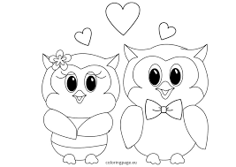 Small Picture Owls Love Valentines coloring page