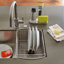 Kitchen Sink Drain Rack Stainless Steel In Sink Dish Drainer The Container Store
