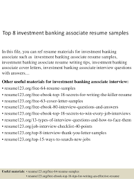 sample resume for investment banking top 8 investment banking associate resume samples