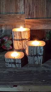 rustic wooden pillar candle holders barbed wire home decor western