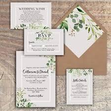 Wedding Invitatiins Personalised Luxury Rustic Wedding Invitations Green Grey Leaves