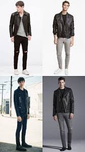 men s leather jacket t shirt and jeans outfit inspiration lookbook