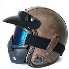 details about flat brown harley motorcycle motorbike pu leather helmet face mask vintage dot