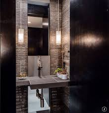 4 tags Modern Powder Room with Stone Rectangular Infinity Sink, ET2 Rocher  1 - Light Mini Pendant