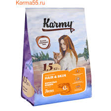 <b>Сухой корм Karmy</b> Hair&Skin поддерживающий здоровье кожи и ...