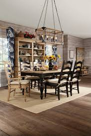 kincaid homecoming solid wood farmhouse leg dining table set in vintage pine black with chairs in natural code univ20 for 20 off by dining rooms
