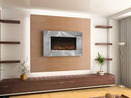 sleek metal frame wall mount fireplace on a beige accent wall chocolate bottom cabinet with drawers for storage light brown laminate hardwood flooring
