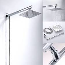 8 ultra stainless steel square rainfall shower head extension arm hose set