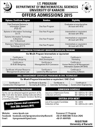 university of karachi diploma in information technology admissions