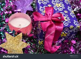 Lighted Holiday Bow Gift Box Bow Pink Ribbon Christmas Stock Photo Edit Now