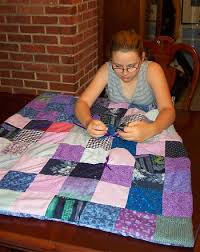 pictures of Quilts that kids made, Kids Can Sew Quilts, kids can ... & Kelly made this pretty purple and blue patchwork quilt. Adamdwight.com