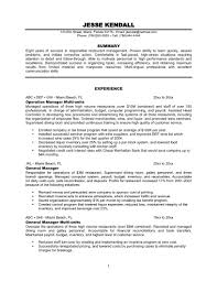Restaurant Resume 14 Duties For Operation Manager Experience General