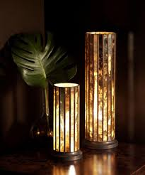 lighting bamboo shaped traditional table lamp featuring round brushed copper table lamp base and brown