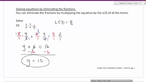 linear equations involving fractions
