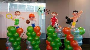 Sports Themed Balloon Decor Sports Theme Balloon Columns Decorations Artsyballoons