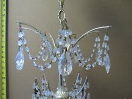 1960 s crystal chandelier after complete disassembly triple brass plating hand polished crystals missing parts replaced