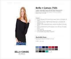 Bella Canvas Hoodie Size Chart 7501 Bella Canvas Ladies Sponge Fleece Wide Neck