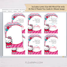 Blank Thank You Card Template Word Hello Kitty Thank You Card Template