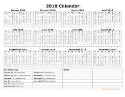 Free Download Printable Calendar 2018 With Us Federal Holidays One