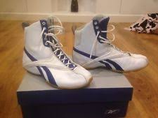 reebok boxing boots. new listingused great condition reebok blue and white high trainers /boxing boots size 4.5 boxing