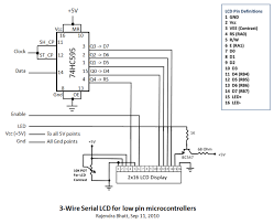 3 wire serial lcd using a shift register electronics lab the sh cp 11 and st cp 12 clock inputs of 75hc595 are tied together and will be driven by one microcontroller pin serial data from microcontroller is