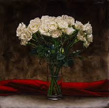 a still life oil painting of a bouquet of white roses in a glass vase filled