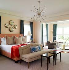 peach walls blue curtains bedroom