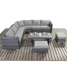 round corner rattan sofa set with grey mattress for modern living room design
