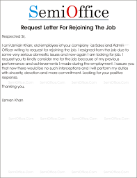 Resignation From The Company Rejoining Letter After Resignation From Company