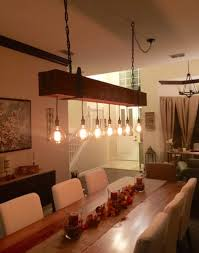wood beam chandelier design