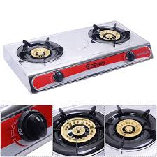 picture of gas stove stainless steel 2 burners hob cooktop kitchen outdoor camping