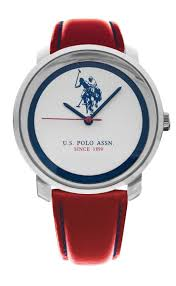 us polo assoc stainless steel red leather strap watch ryan thomas jewellers