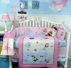 amusing mermaid crib bedding with nice table lamp